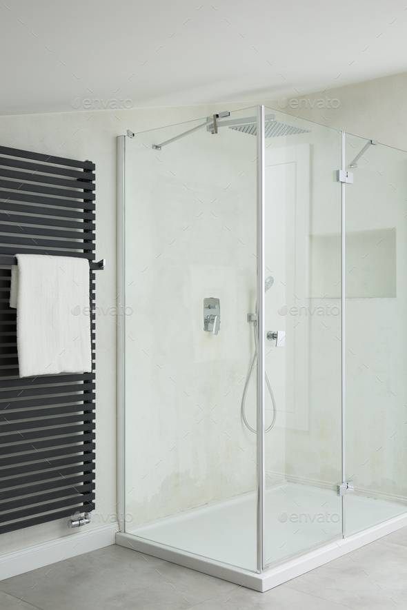Shower in bathroom - Stock Photo - Images