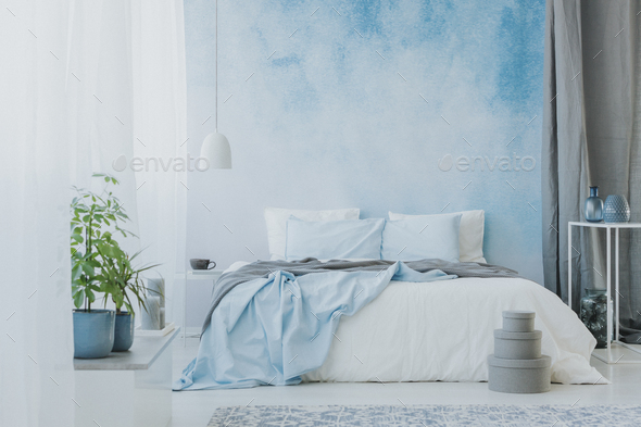 Bed on ombre wall - Stock Photo - Images