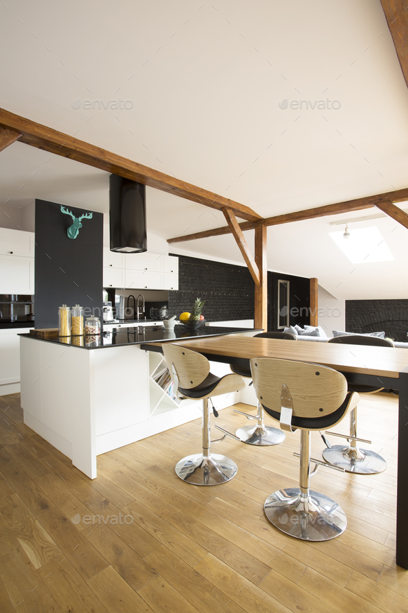 Kitchen with bar stools - Stock Photo - Images
