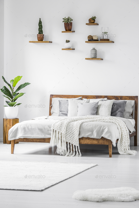 Simple white bedroom interior - Stock Photo - Images