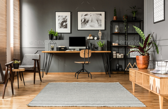 Freelancer's room interior with posters - Stock Photo - Images