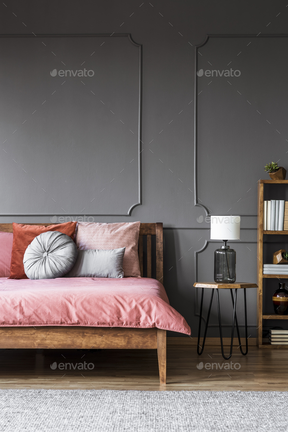 Grey dark bedroom interior - Stock Photo - Images