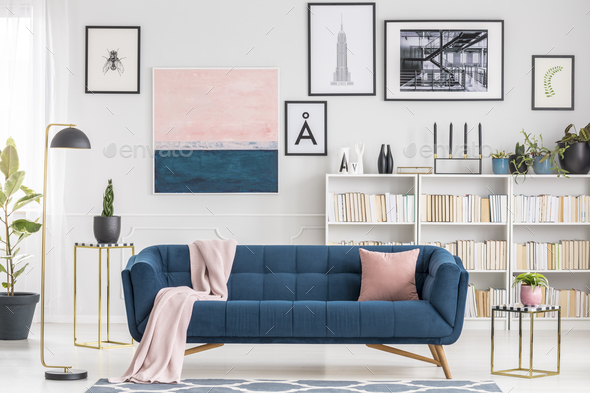 Pink and blue living room - Stock Photo - Images