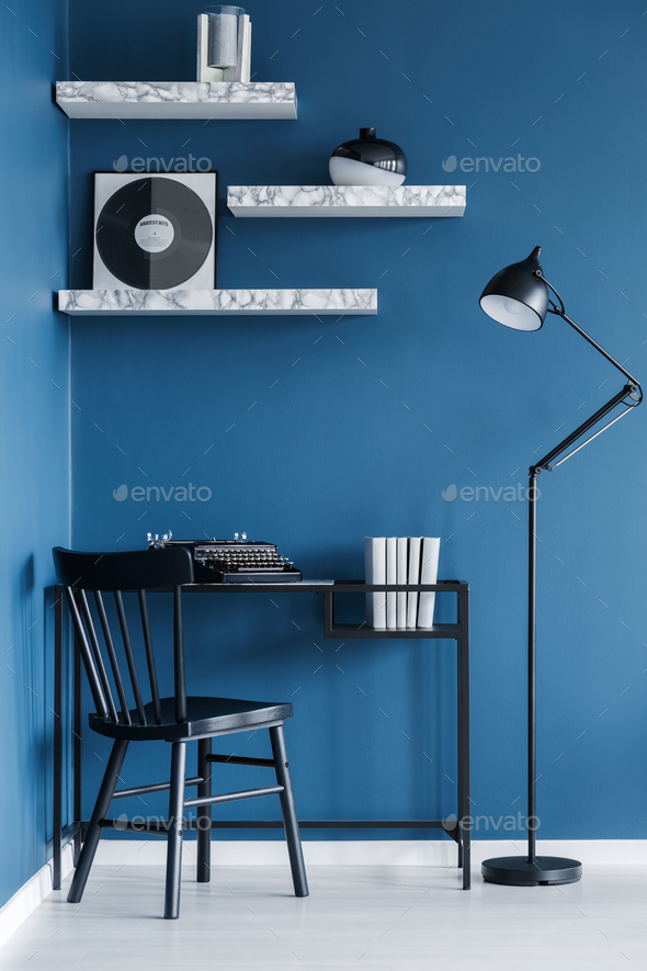 Black and blue home office - Stock Photo - Images