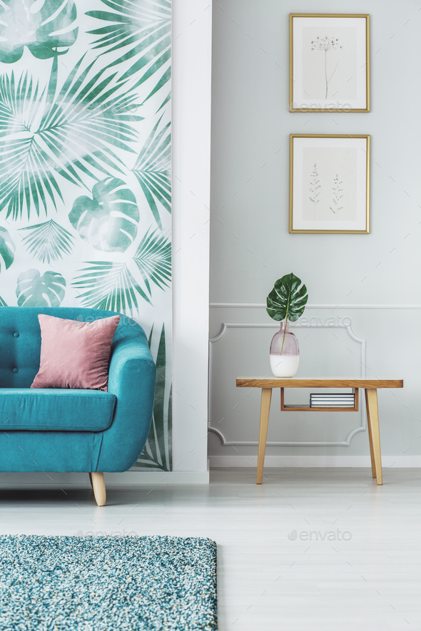 Leaf in living room interior - Stock Photo - Images