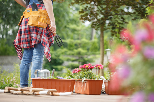 Gardener with toolbelt on terrace - Stock Photo - Images