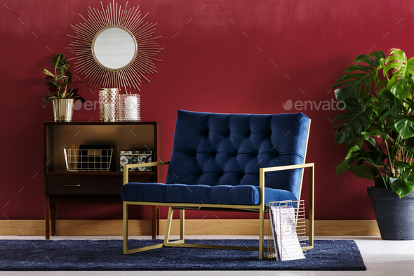 Blue armchair with golden frame - Stock Photo - Images