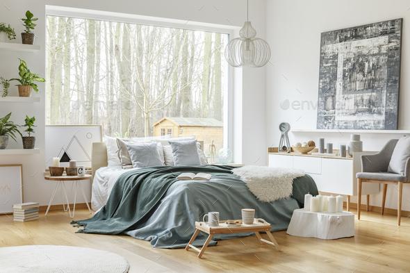 Pastel warm bedroom interior - Stock Photo - Images