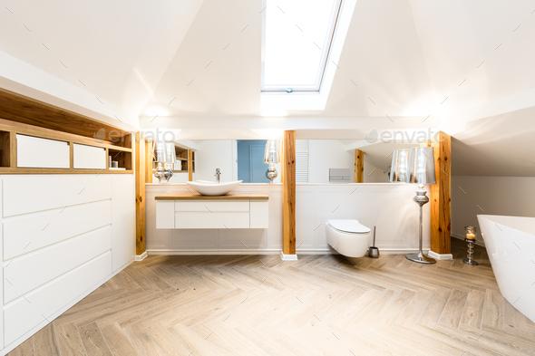 Interior of spacious bathroom - Stock Photo - Images
