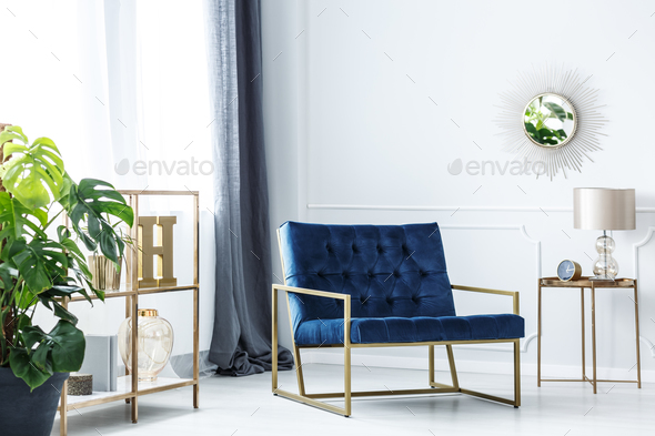 Navy blue chair - Stock Photo - Images