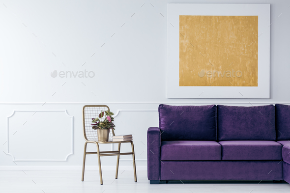Gold and purple living room - Stock Photo - Images