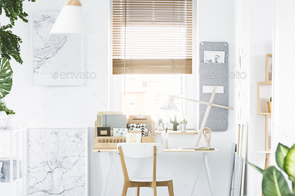 Home office interior with window - Stock Photo - Images