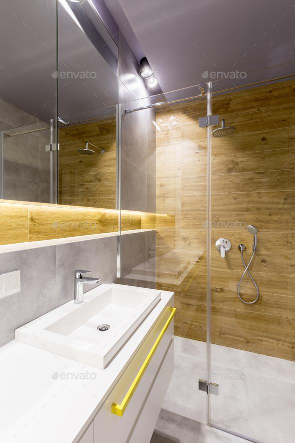 Scandi bathroom interior - Stock Photo - Images
