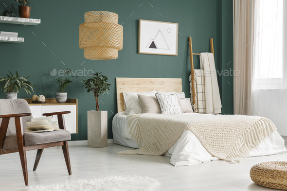 Green bedroom interior - Stock Photo - Images