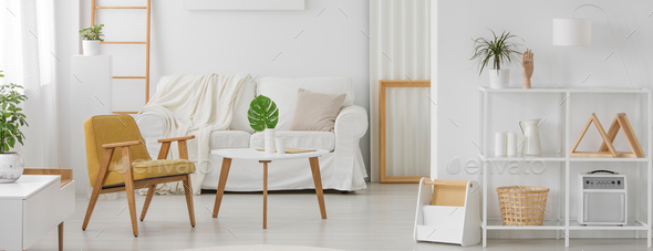 White furniture with wooden elements - Stock Photo - Images