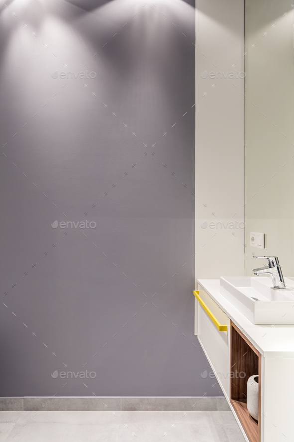 Simple bathroom with empty wall - Stock Photo - Images