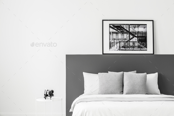 Poster in contrast bedroom interior - Stock Photo - Images