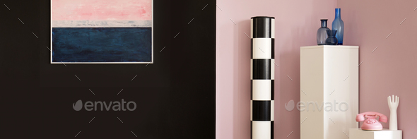 Black and pink wall - Stock Photo - Images