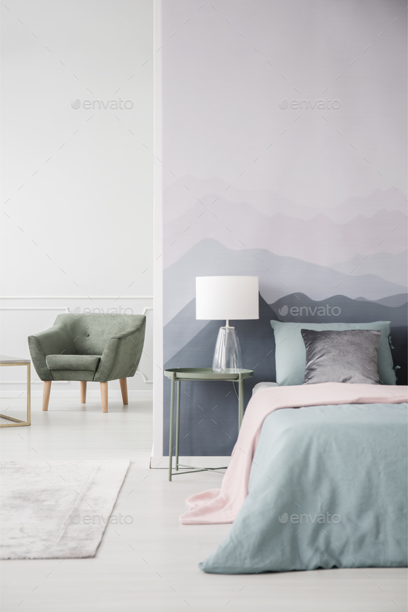 Green bedroom interior with armchair - Stock Photo - Images