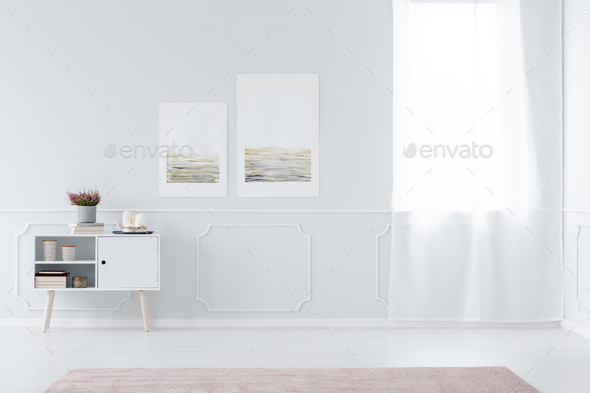 White anteroom interior with posters - Stock Photo - Images