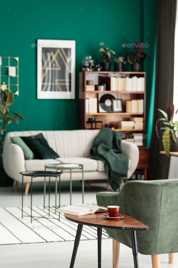 Green cozy living room interior - Stock Photo - Images
