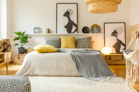 Warm modern bedroom interior - Stock Photo - Images