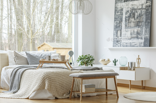 Painting in modern bedroom interior - Stock Photo - Images