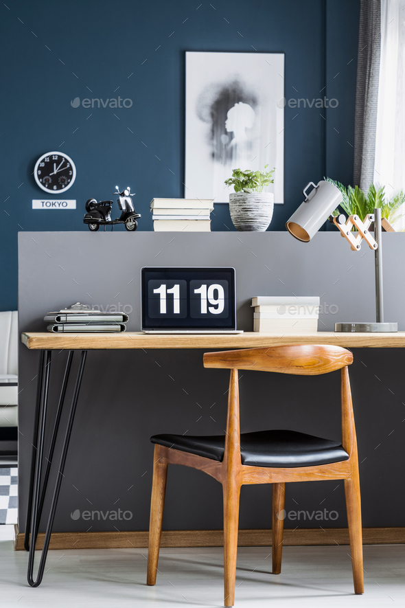 Wooden and metal furniture workspace - Stock Photo - Images