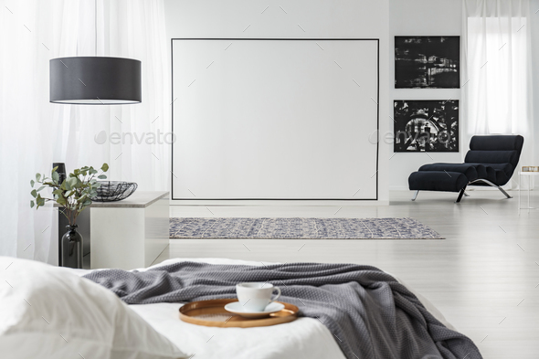 Black paintings in bedroom interior - Stock Photo - Images