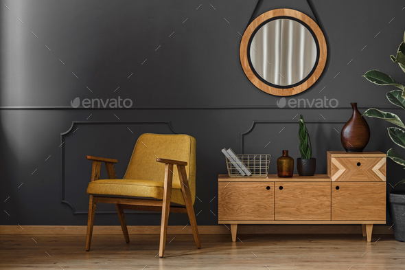 Mirror, cupboard and armchair - Stock Photo - Images