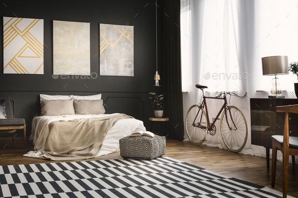 Retro bedroom with bike - Stock Photo - Images
