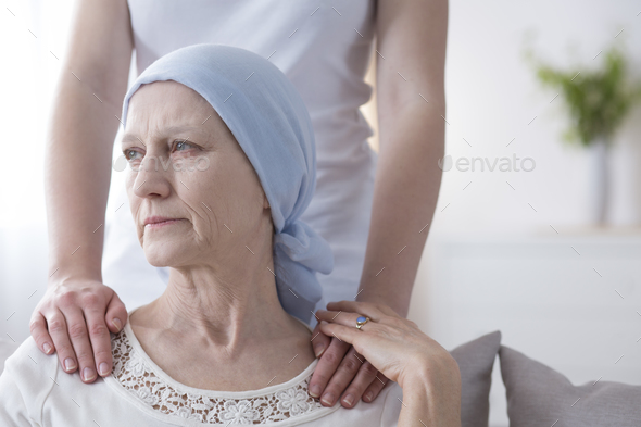 Worried elderly woman with cancer - Stock Photo - Images