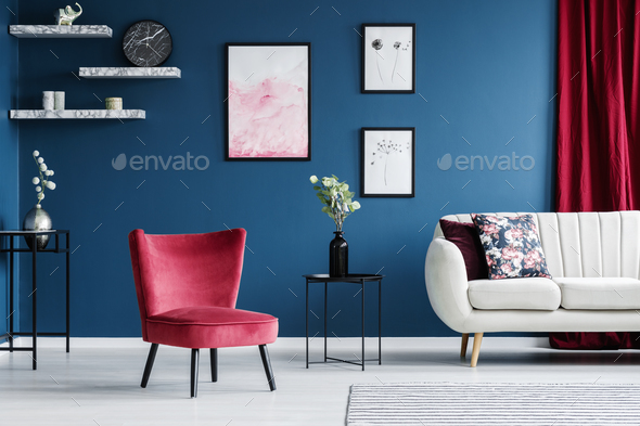 Red and blue living room - Stock Photo - Images