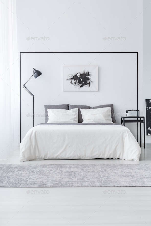 Black and white simple bedroom - Stock Photo - Images