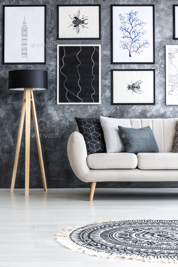Living room interior with posters - Stock Photo - Images