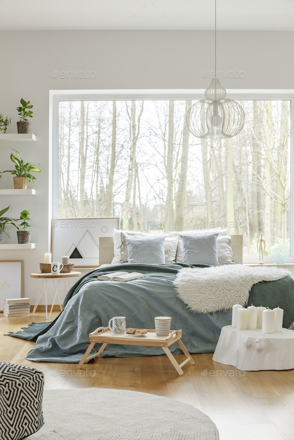 White and green bedroom interior - Stock Photo - Images