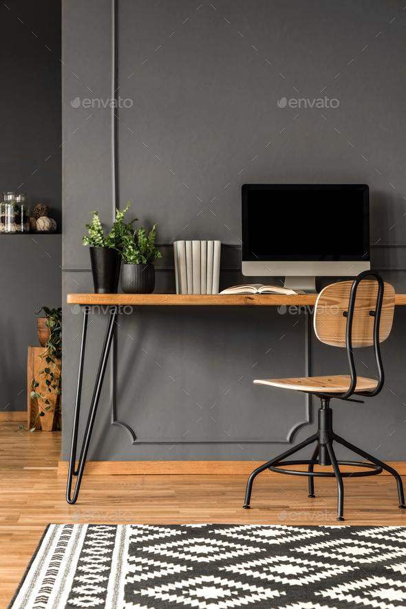 Grey scandi workspace interior - Stock Photo - Images