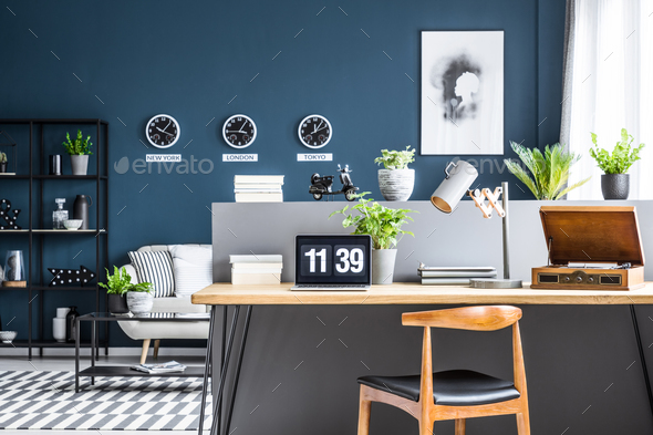 Dark blue interior with workspace - Stock Photo - Images