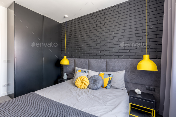 Bedroom with yellow accents - Stock Photo - Images