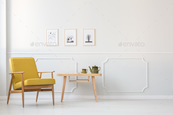 Yellow armchair in white interior - Stock Photo - Images