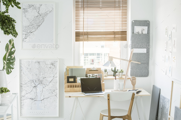White freelancer's interior with window - Stock Photo - Images