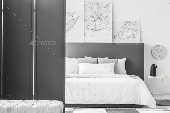 Maps in minimal hotel interior - Stock Photo - Images