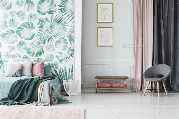Green bedroom interior with posters - Stock Photo - Images