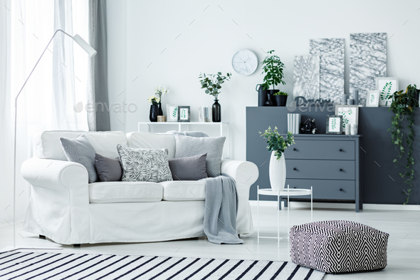 White sofa and grey accents - Stock Photo - Images