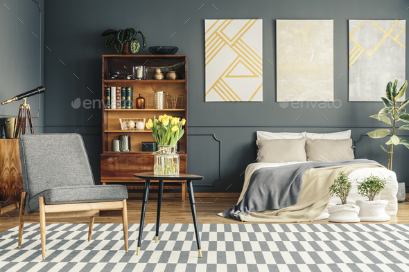 Cozy bed in retro bedroom - Stock Photo - Images