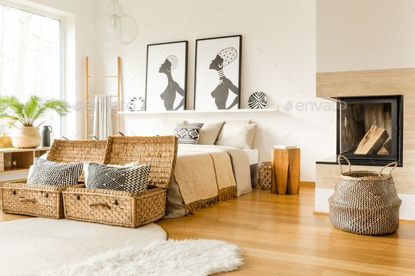 Fireplace in bedroom - Stock Photo - Images