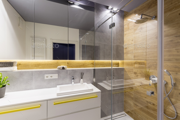 Wood in modern bathroom interior - Stock Photo - Images