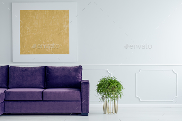 Gold and violet living room - Stock Photo - Images