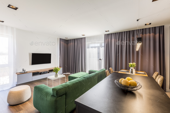 Modern spacious flat interior - Stock Photo - Images
