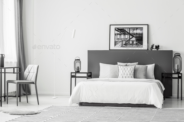 Spacious contrast bedroom interior - Stock Photo - Images